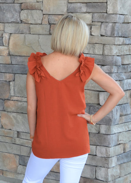 All Eyes on You Ruffle Top, Rust