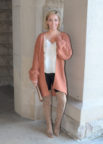 Come and Go Puff Sleeve Cardigan