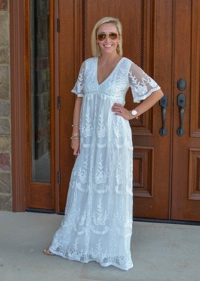 Ageless Love White Lace Maxi Dress