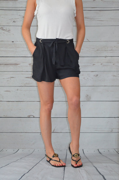 Belted Bliss Black Shorts