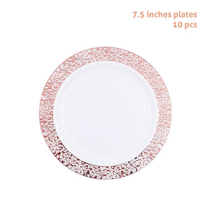 10 pcs/set Rose Gold Plastic Plates | Nicro Party