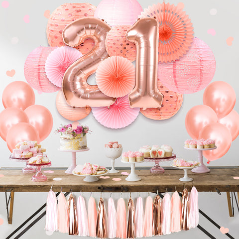 Image of 21st birthday decorations rose gold