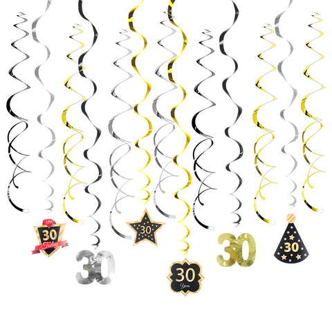 30 40 50 Birthday Gold Black DIY Spiral Ornaments Swirl | Nicro Party