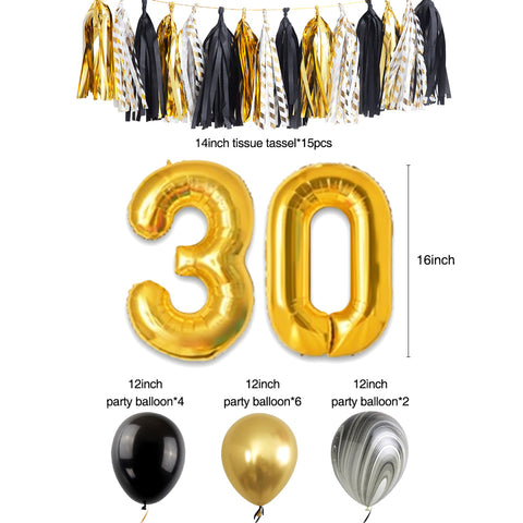 30th Birthday Party Decoration Kit balloons