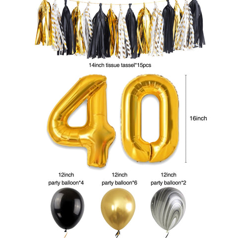 40th Birthday Party Decoration Kit balloons and tassel