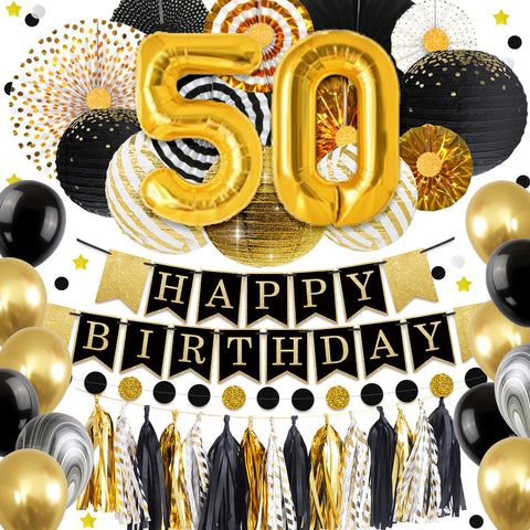50th Gold Birthday Party Decoration Kit