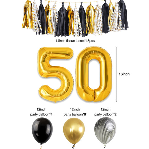 50th Gold Birthday Party Decoration Kit balloons tassel
