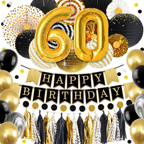 Image of 60th Gold Black Birthday Party Decoration Kit