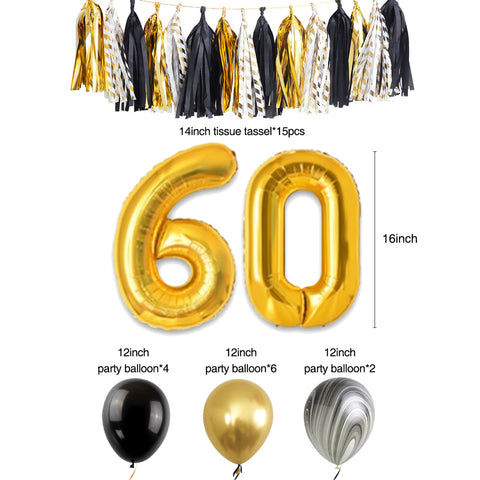60th Gold Black Birthday Party Decoration Kit balloon tassel