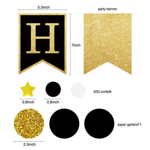60th Gold Black Birthday Party Decoration Kit banner