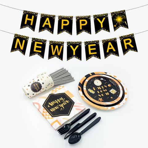 Image of Black Gold New Year Party Decoration | Nicro Party