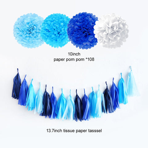 Image of Blue Gradient Party Decoration Kit