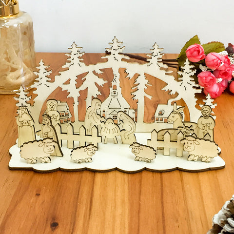 Image of  Christmas Creative Table Wood DIY Decoration | Nicro Party