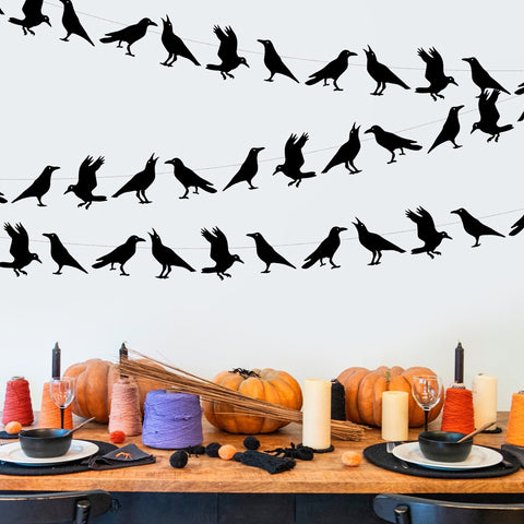 Image of 4 M Black Crow Paper Garland | Nicro Party