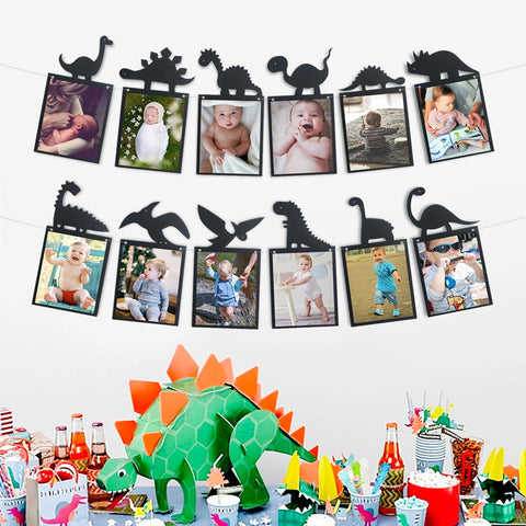 Image of Black Dinosaur Theme Photo Garland Banner Hanging Clips | Nicro Party