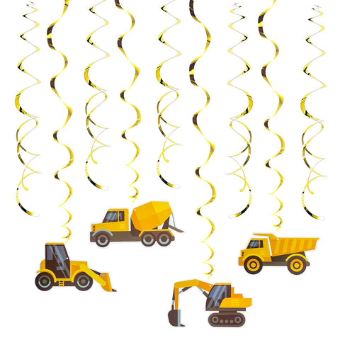 Image of Excavator Truck Swirl Decorations | Nicro Party
