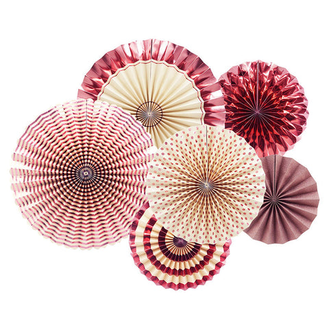 Image of Rose Gold Party  Paper Fan Set