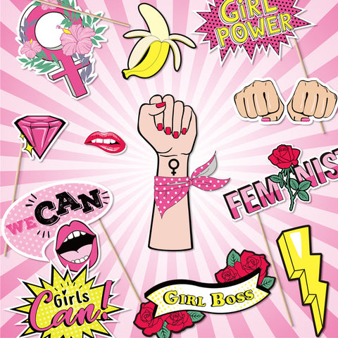 Image of 15 Count Girl Power Theme Photo Booth Props | Nicro Party