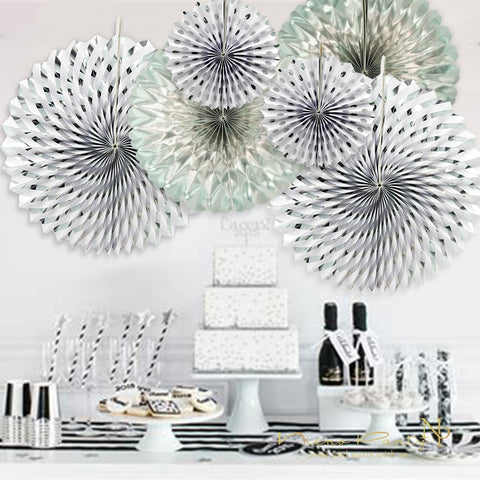 Image of Gold Silver Dot Stripe Paper Fans