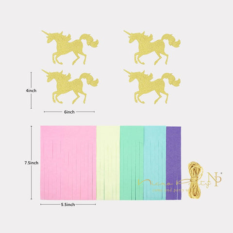 Image of Unicorn Party Decorations Tissue Tassel Paper Garland
