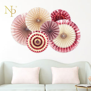 Rose Gold Party  Paper Fan Set