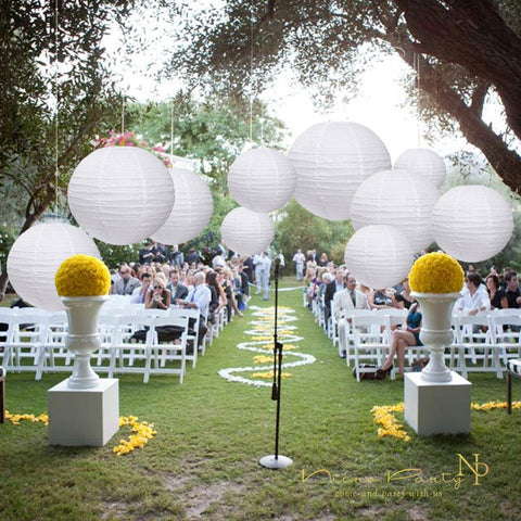 Image of 10 Pcs/Set White Paper Lanterns Set