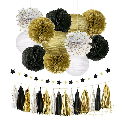 28 pcs/set  Party Decoration Gold  Birthday Graduation Decor