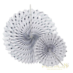 Gold Silver Dot Stripe Paper Fans