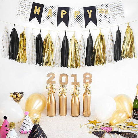 Tissue Tassel Garland 15pcs/set Black Gold