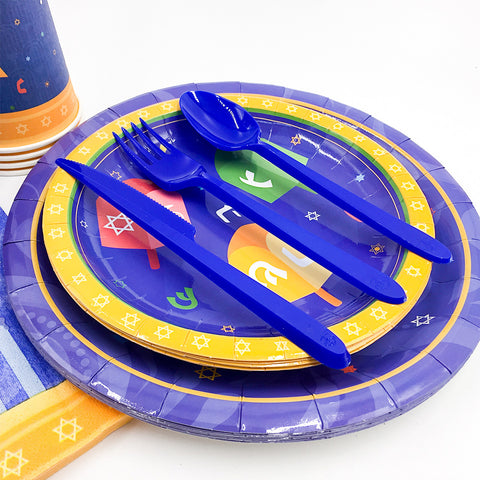 Image of Hanukkah Holiday of Lights Party Paper Tableware | Nicro Party