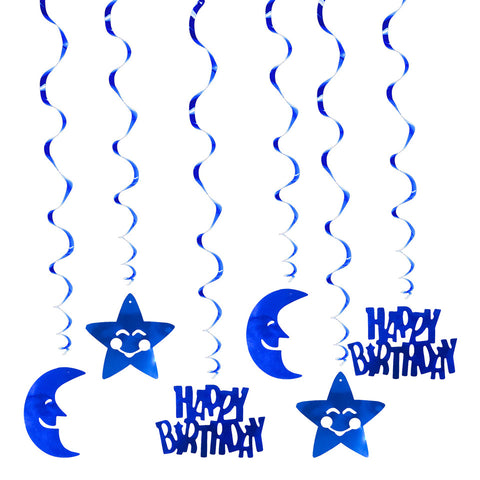 Happy Birthday Moon Star Spiral Ornaments | Nicro Party