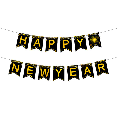 Happy New Year Black Gold Party Decoration | Nicro Party