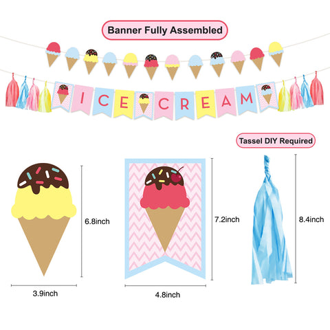 Image of Ice Cream Happy Birthday Party Decor Kit banner