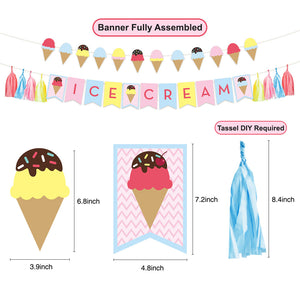Ice Cream Happy Birthday Party Decor Kit banner