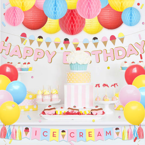 Image of Ice Cream Happy Birthday Party Decor Kit