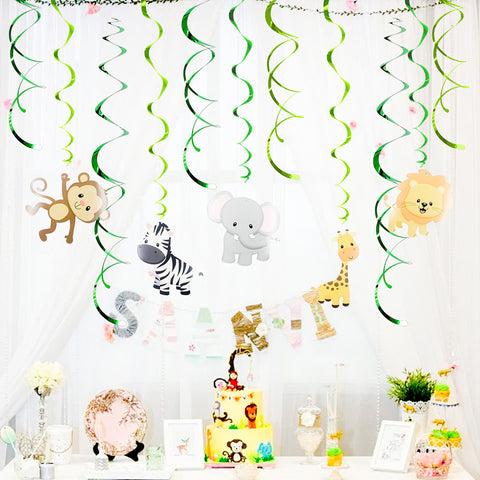 Image of Jungle Theme PVC Foil Swirls Banner | Nicro Party
