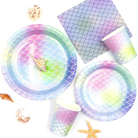 Image of Mermaid Disposable Clear Dinnerware Kit | Nicro Party