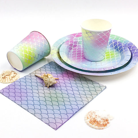 Mermaid Disposable Clear Dinnerware Kit | Nicro Party