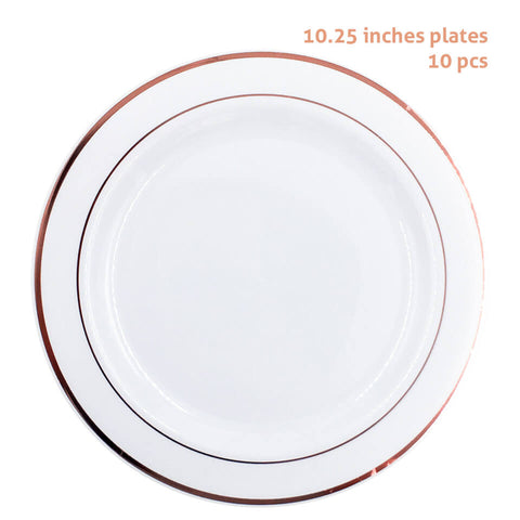 Image of 10 pcs/set Rose Gold Plastic Plates | Nicro Party