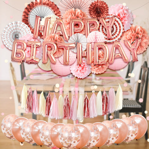 Image of rose gold party decorations for birthday