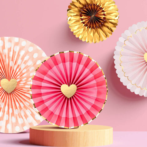 Image of Rose Gold Pink Paper Fans Kit | Nicro Party