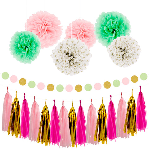 Image of Rose Gold Pink Party Decoration Kit