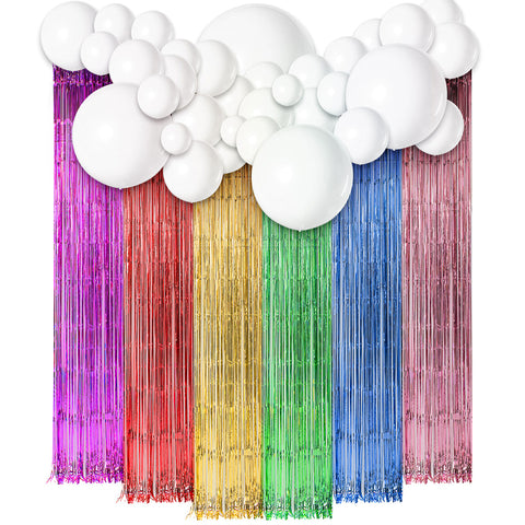 Image of Unicorn Theme Tassel Curtain Balloons Kit