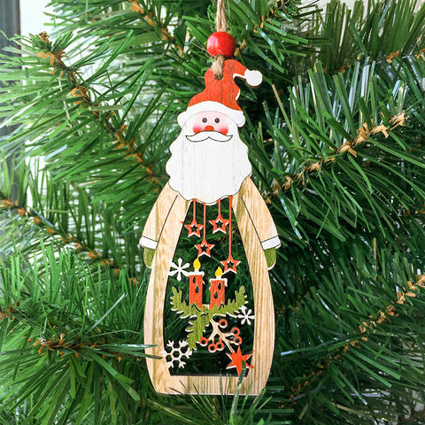 Wooden Christmas Santa Claus Snowman Pendant | Nicro Party