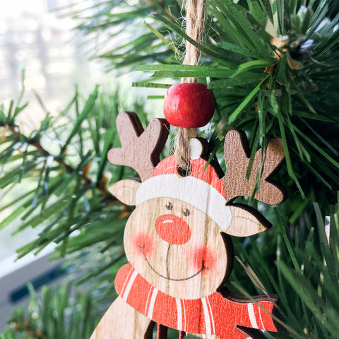 Image of  Wooden Christmas Santa Claus Snowman Pendant | Nicro Party