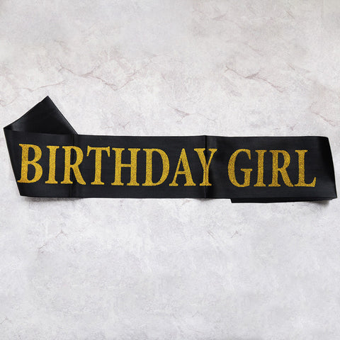 Image of birthday girl sash party decoration black gold
