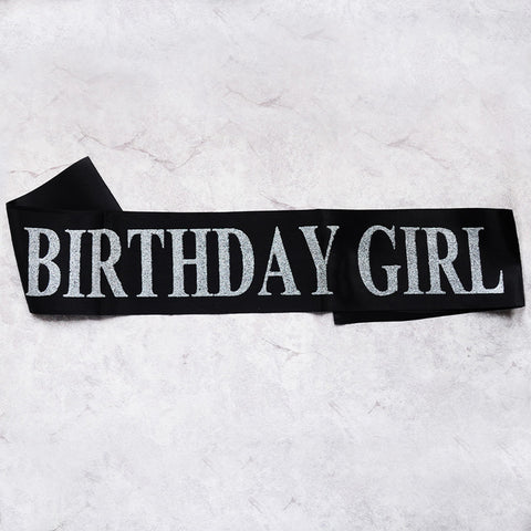 Image of birthday girl sash party decoration black silver