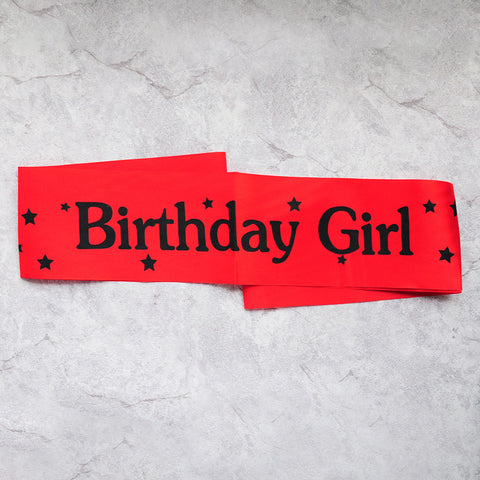 Image of birthday girl sash party decoration red black