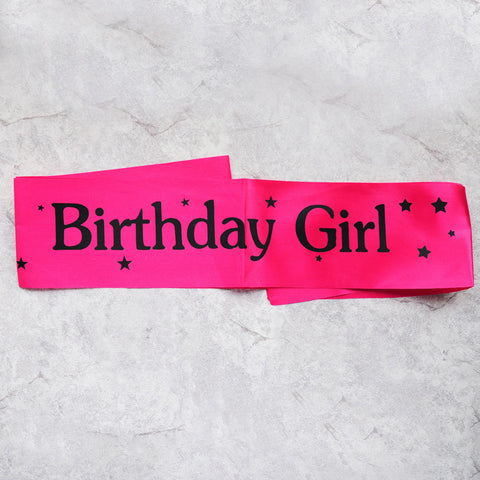 Image of birthday girl sash party decoration rose red black