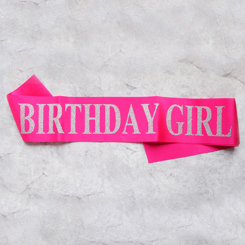 Image of birthday girl sash party decoration rose red silver